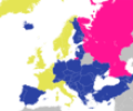 Emas: Anggota pendiri. Biru: Anggota penuh non-pendiri (saat ini).