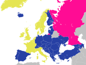 English: Map of the Council of Europe. Founder...