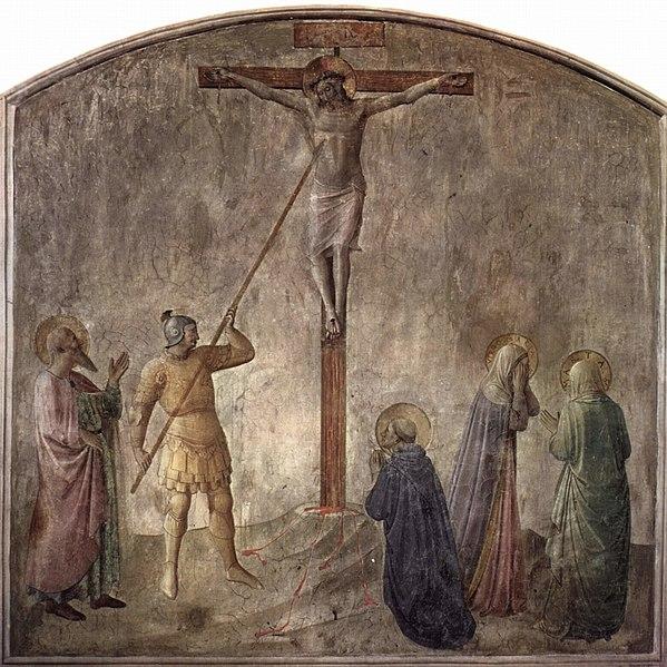 Longinus limpiando el sobaco de Cristo. Dramatización. (Fuente: Wikipedia).