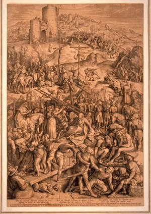 Engraving of Jesus Christ on Golgotha.