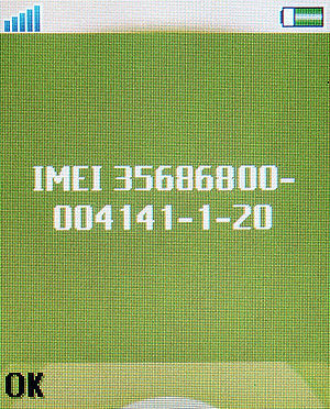 Example of an IMEI