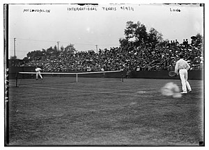A grass court match in Newport during the 1911...