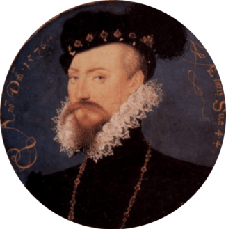 Portrait of Elizabethan man with beard and mustache, wearing a cap and ruff