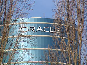 Oracle logo at the Oracle headquarters.