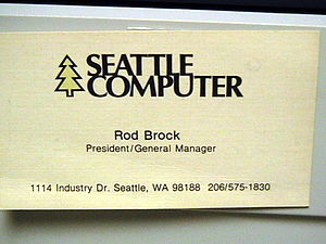 Image of business card of Rod Brock of Seattle...