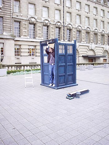 English: a TARDIS prop being assembled in London.