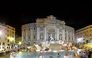 English: Panorama of the Trevi fountain at night.