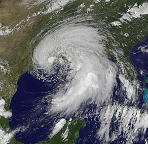 English: View of Tropical Storm Lee from the G...