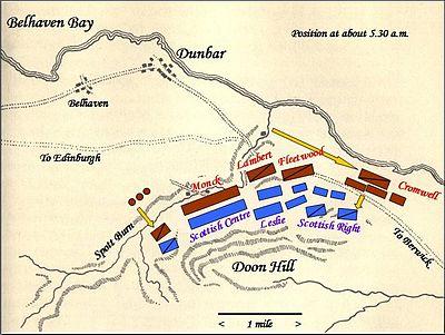 Battle of Dunbar in Scotland