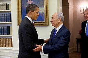 English: President Barack Obama welcomes Israe...