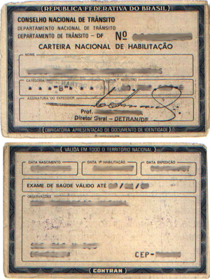Driver's license from Brazil, as issued in the...