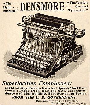 English: Advertisement for a Densmore typewrit...