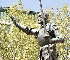 English: Don Quixote in the monument to Miguel...