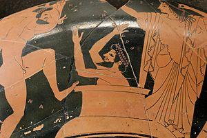 Herakles brings Eurystheus the Erymanthian boa...