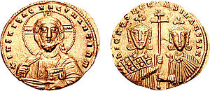 Gold histamenon coin depicting the emperors Ni...