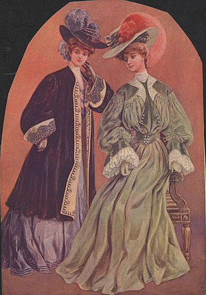 """Fashion plates of women wearing hats dec..."