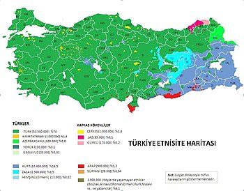 English: Türkiye etnik haritası