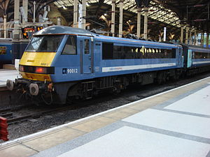 British Rail Class 90 number 90012 stands at L...