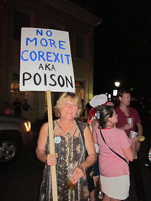 "Sign protesting use of toxic ""Corexit&quo..."