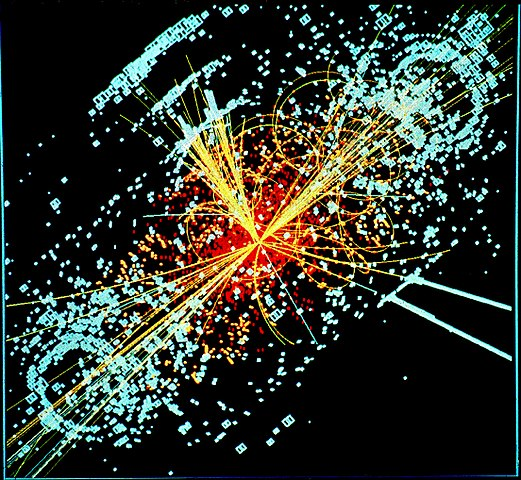 A simulated event in the CMS detector, a collision in which a micro black hole may be created.