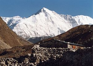 The summit of Cho Oyu, as seen from Gokyo.
