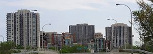The skyline of Etobicoke, centered around the ...