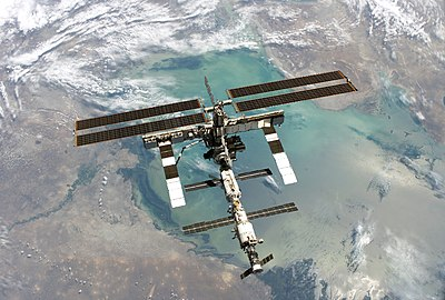 International Space Station. Photo taken from shuttle Discovery in August 2005