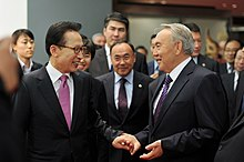 Nazarbayev with Lee Myung-bak in Seoul, 2010.