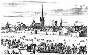 Malmö illustration by Erik Dahlberg from 1658.