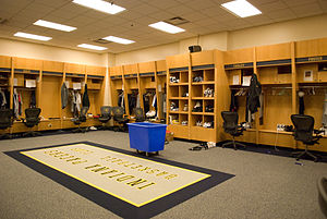 The locker room for the Indiana Pacers at Cons...