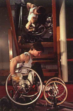 English: Rick Hansen training on wheelchair er...