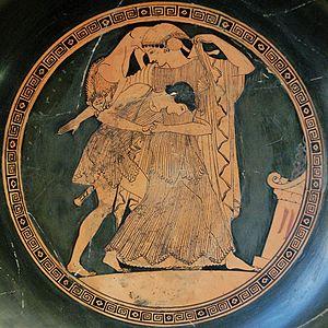 Thetis raped by Peleus. Tondo of an Attic red-...