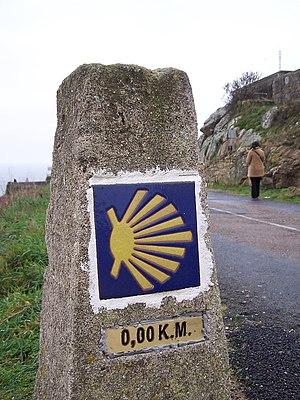 O camiño de Santiago en Fisterra, Galicia