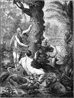 Adam and Eve are under the tree.
