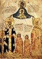 Miniatura prodotta tra il 1403-1404, rappresentante la famiglia imperiale, Manuele II Paleologo con la moglie Elena Dragas, insieme ai tre figli, da sinistra, Giovanni VIII Paleologo, Teodoro II Paleologo, Andronico Paleologo.