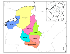 English: Map of the districts of Mashonaland W...