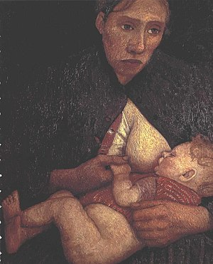 English: Breast feeding mother Deutsch: Stille...