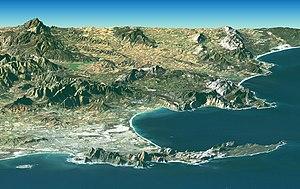 A Landsat image of Cape Town overlaid on SRTM ...