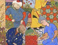 یک جوان ایرانی در �ال بازی شطرنج با دو استاد