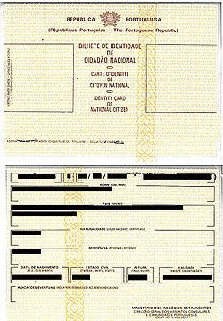 葡萄牙國民身份證 - 維基百科,自由的百科全書