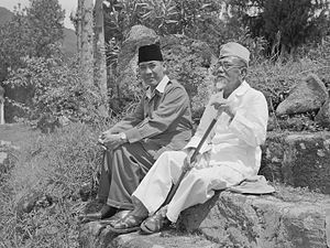 Sukarno and Foreign Minister Agus Salim in Dut...