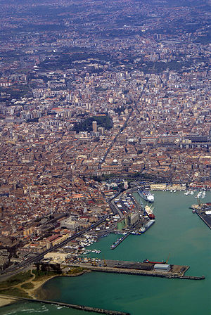 An aerial view of the port of Catania.