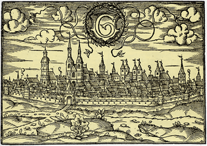 Woodcut showing the town in the year 1585 as v...