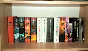 A horrible photo of books that some yahoo took and posted to Wikipedia to boost their own sense of significance.