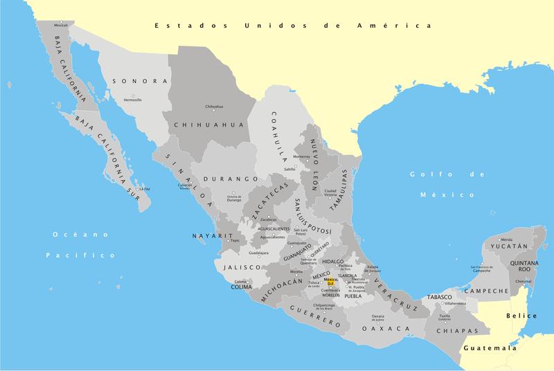 Mapa pol�tico do México. Fonte: Wikipedia.es