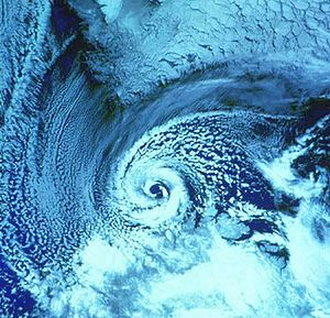 Polar low over the Barents Sea on February 27,...