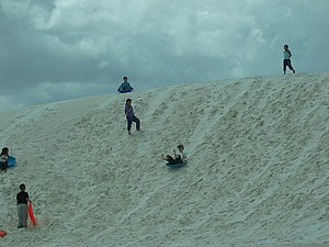 English: Kids sledding in White Sands National...