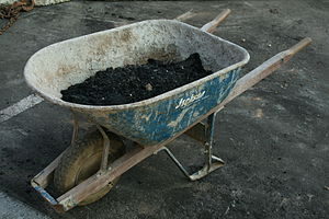 English: Wheelbarrow at a construction site at...