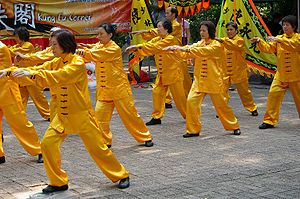 English: Tai chi show on Kung Fu Corner in Kow...