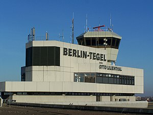 Tower and name of Berlin-Tegel International A...